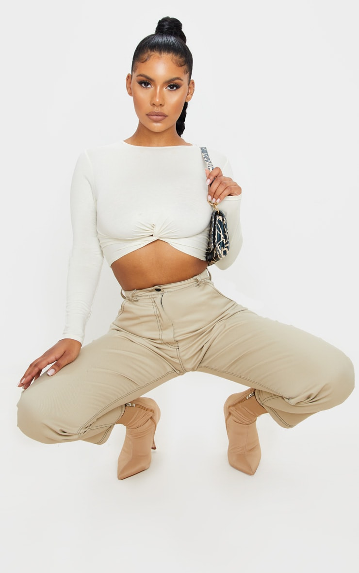 Cream Jersey Long Sleeve Knot Hem Crop Top 4