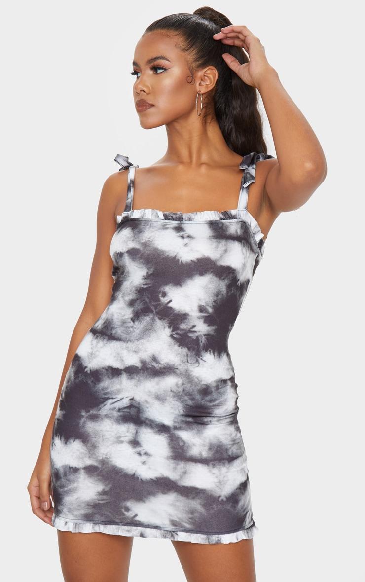 Black Tie Dye Frill Tie Shoulder Bodycon Dress 1