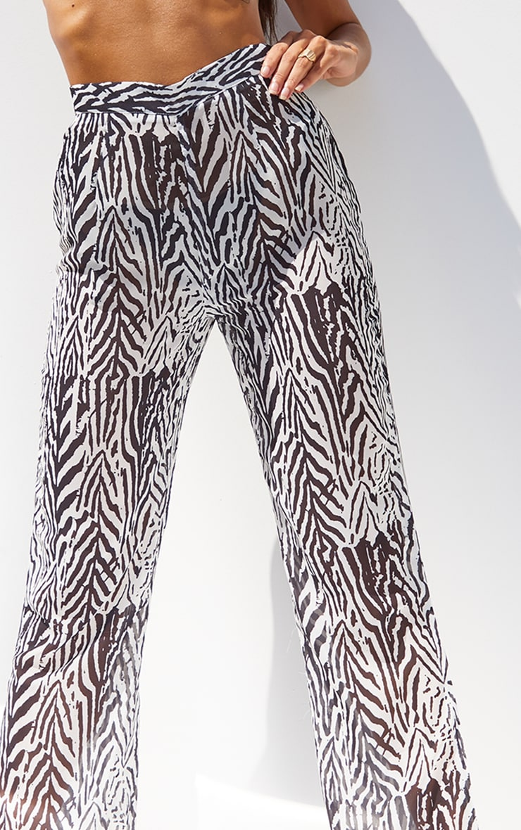 Black Zebra Print Beach Trousers 4