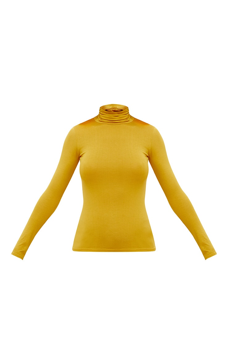 Basic Mustard Long sleeve Roll Neck Top  3