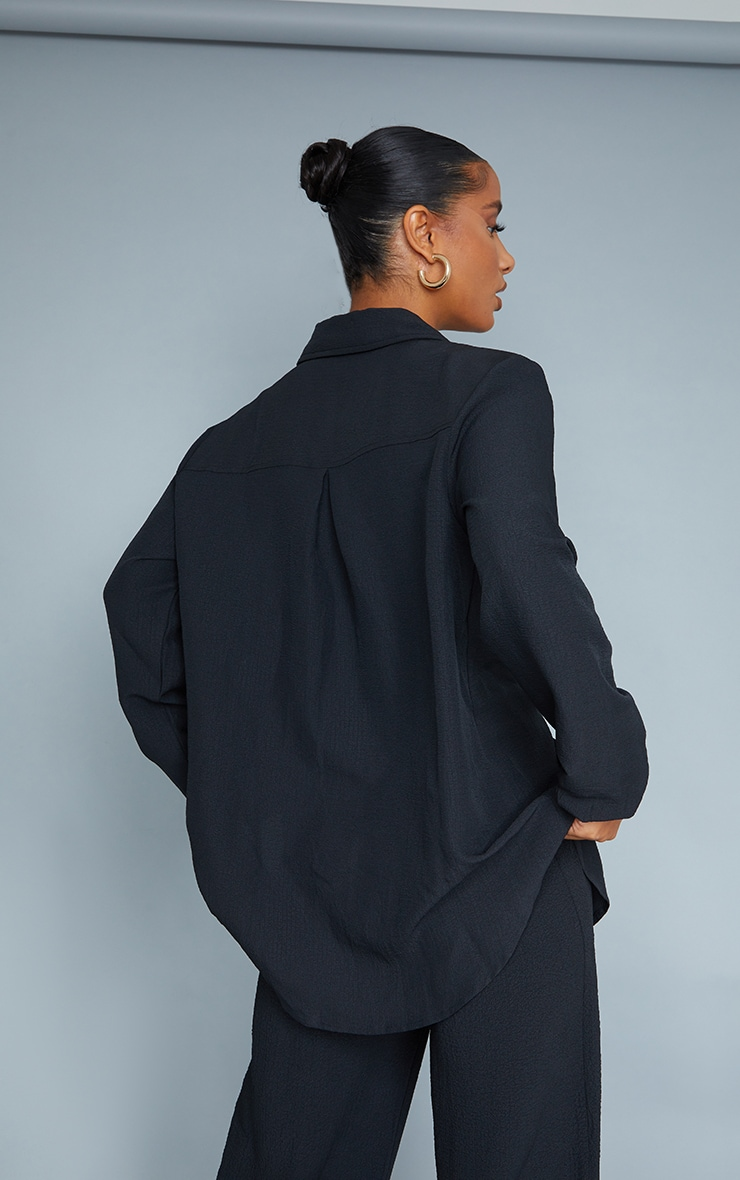 Black Textured Crinkle Oversized Shirt 2