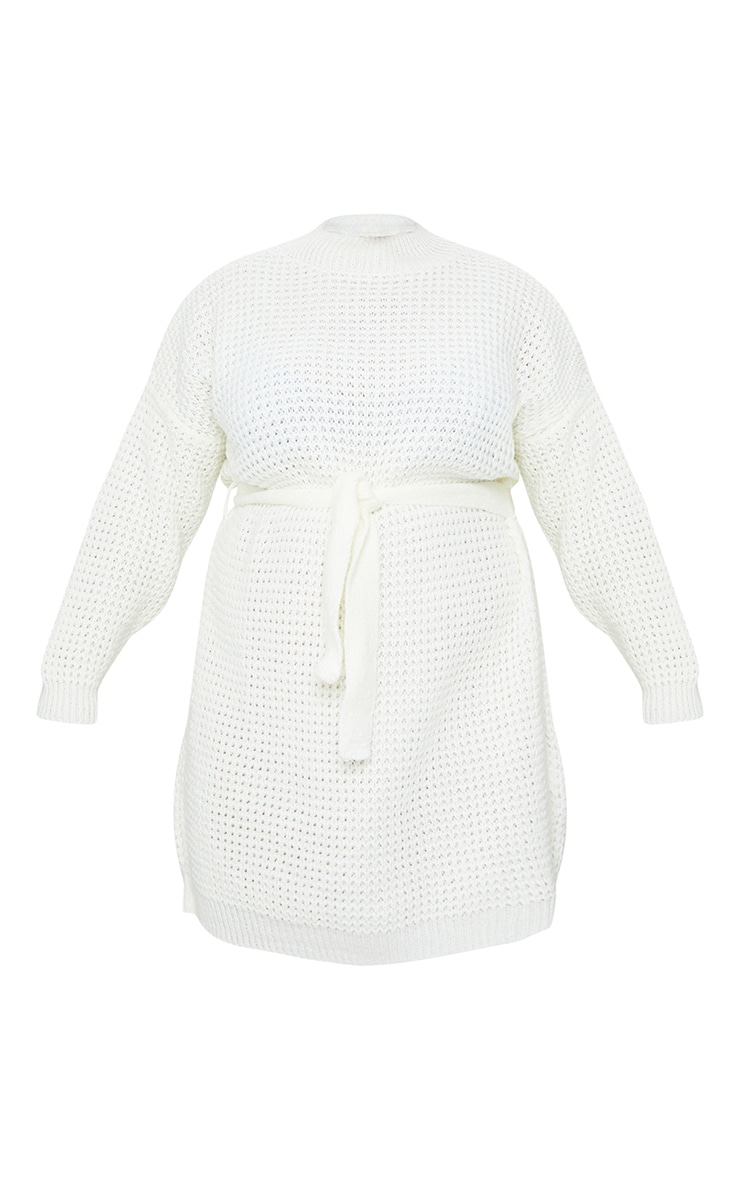 Plus Cream Soft Touch Belted Knitted Jumper Dress 5