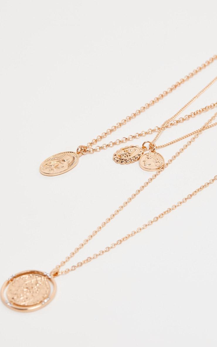Collier superposé doré à médaillons style Renaissance 5