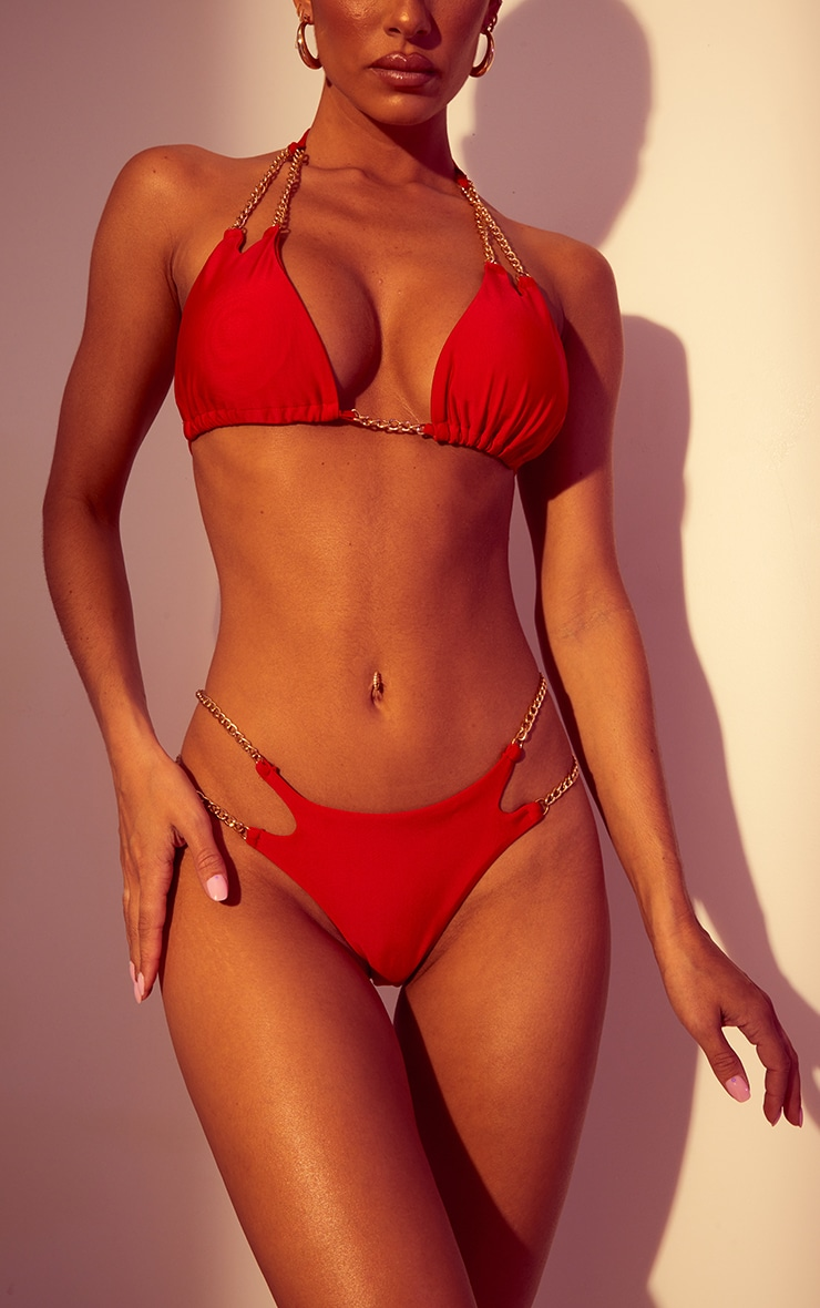 Red Chain Strap Bikini Bottoms 1