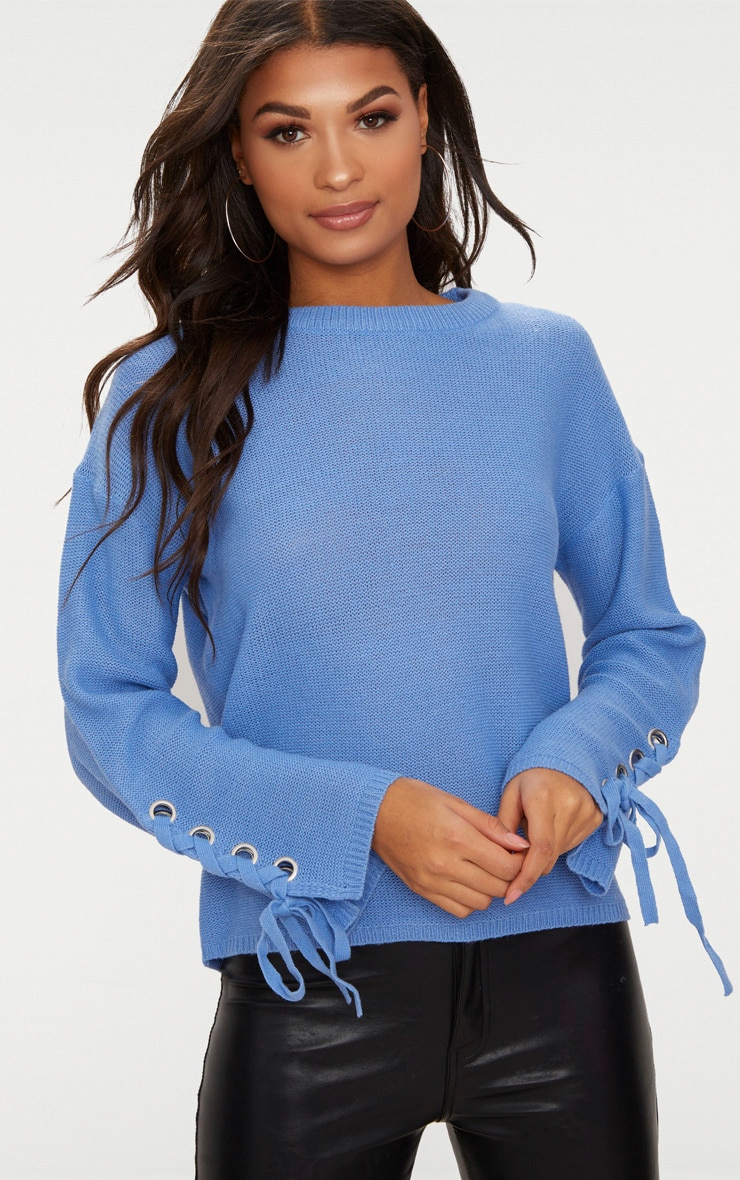 Blue Lace Up Sleeve Jumper 1
