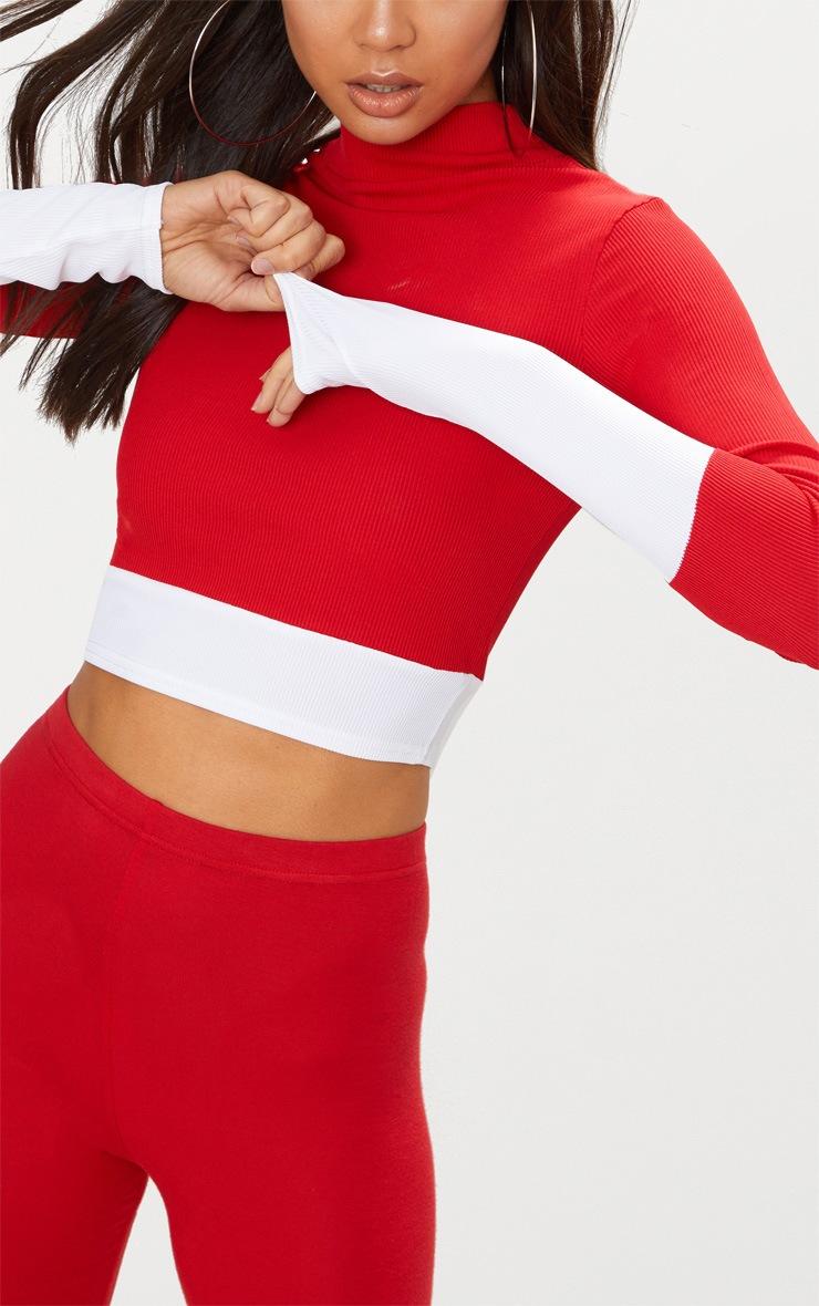 Red Rib Contrast Long Sleeve Crop Top  5