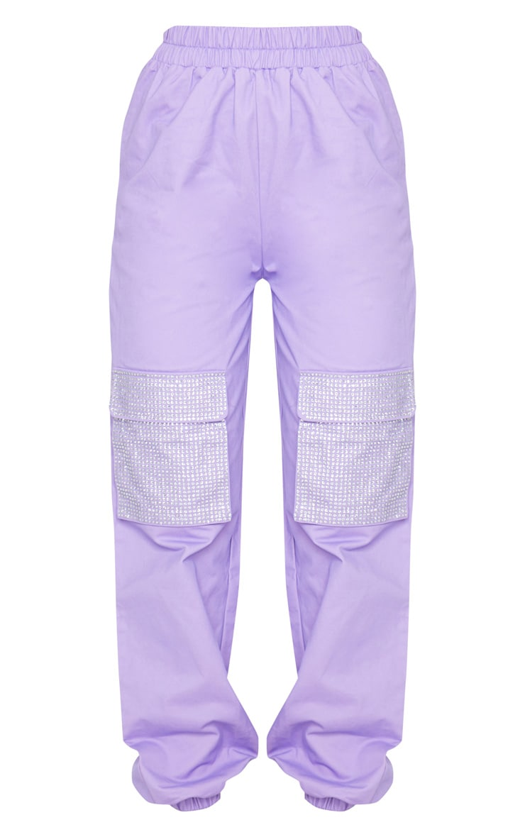 Lilac Diamante Pocket Detail Cargo Pants 5