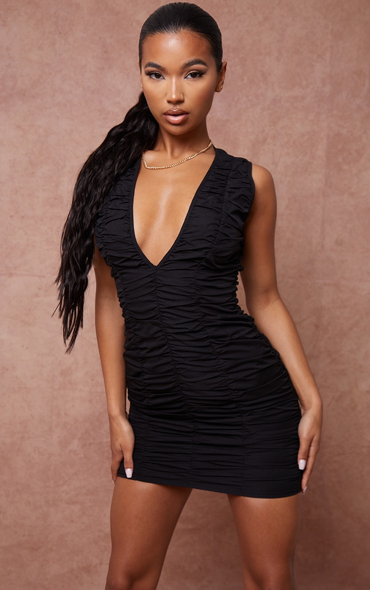 Black Woven Ruched Sleeveless Plunge Bodycon Dress 1