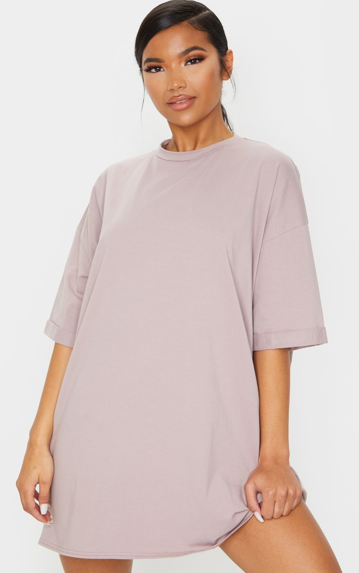 Mauve Oversized Boyfriend T Shirt Dress 1