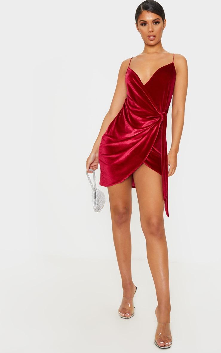 Burgundy Strappy Velvet Wrap Detail Bodycon Dress 4