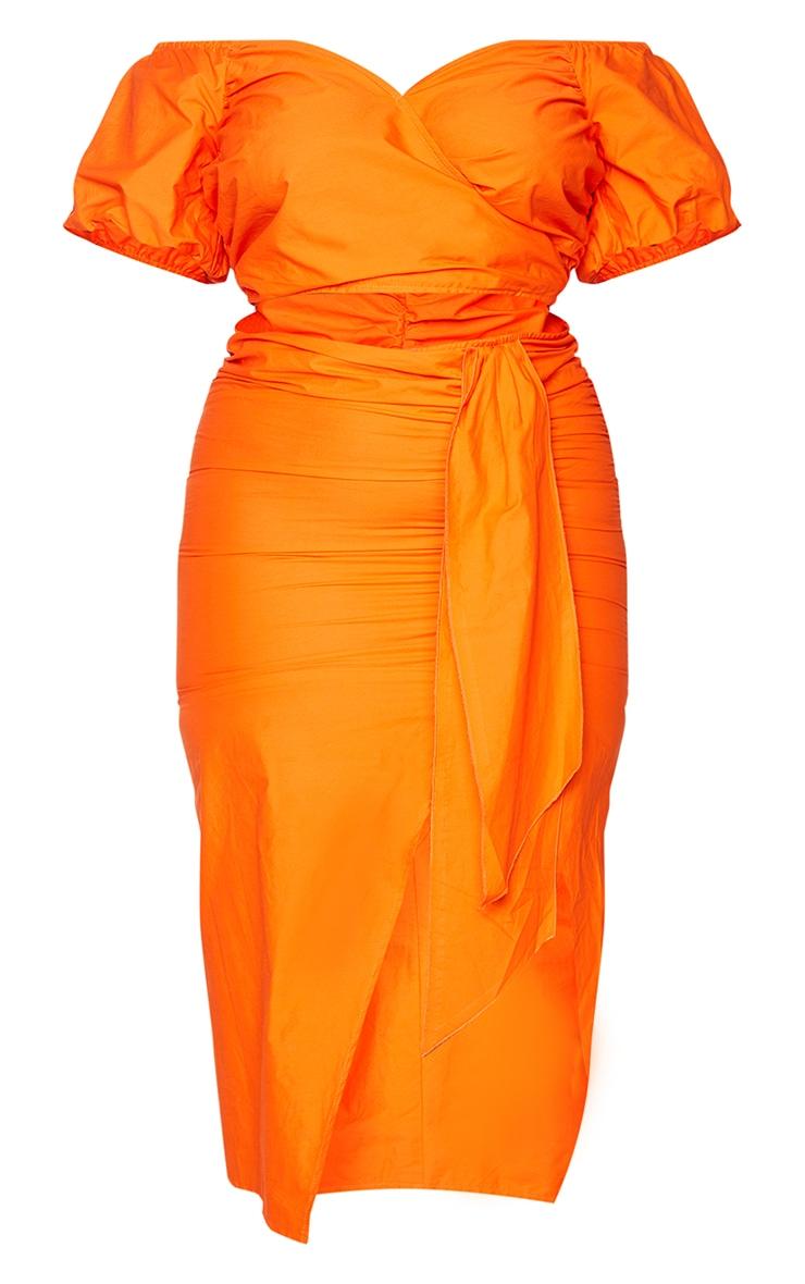 Plus Orange Woven Cut Out Wrap Dress 5