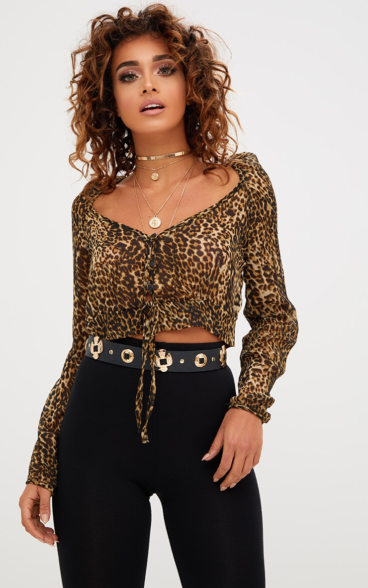 Tan Leopard Print Mesh Ruched Plunge Top 1
