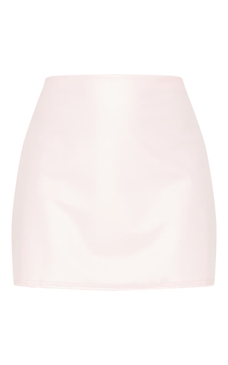 Rose Pink Faux Leather A Line Skirt 3