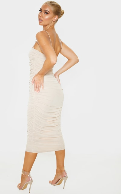 Nude Strappy Mesh Ruched Midaxi Dress