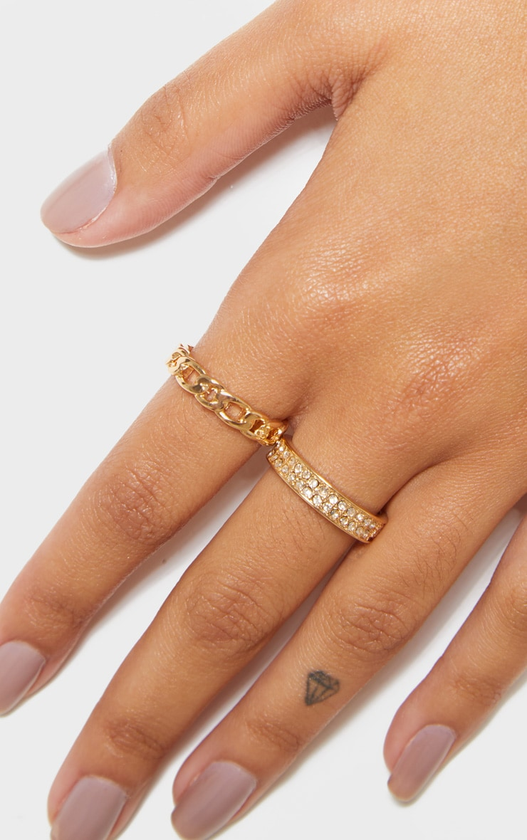 Gold Diamante And Chain Two Pack Rings 2