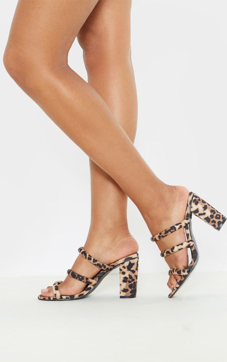 Leopard Triple Strap Mule Block Heel Sandal 2