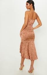 Red Leopard Print Frill Hem Midi Dress 2