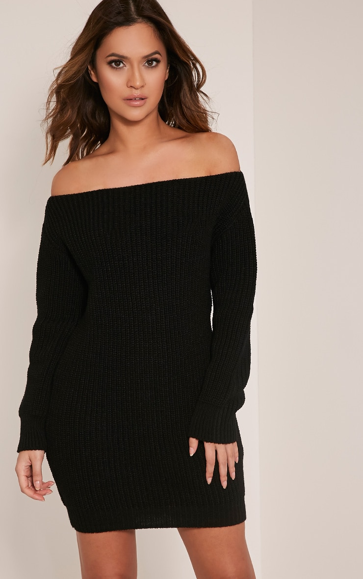Larissa Black Off The Shoulder Knitted Dress 1