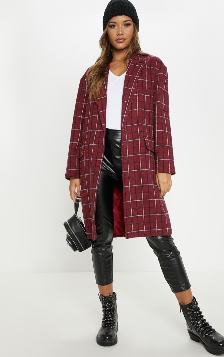 Red Checked Coat by Prettylittlething
