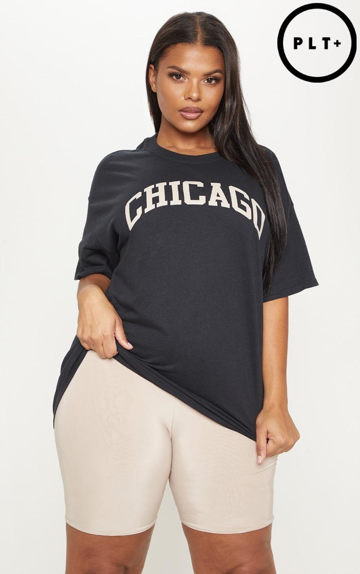 Plus Black Chicago Oversized Slogan T Shirt 1