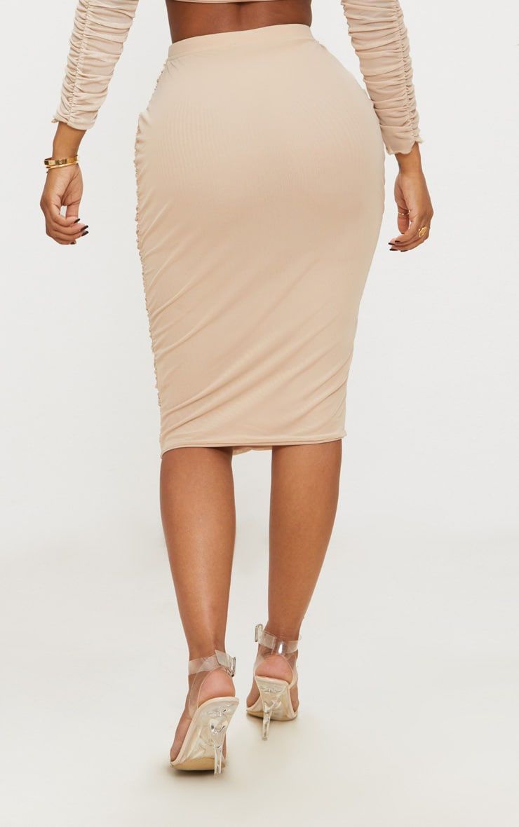 Shape Nude Mesh Ruched Midi Skirt 3