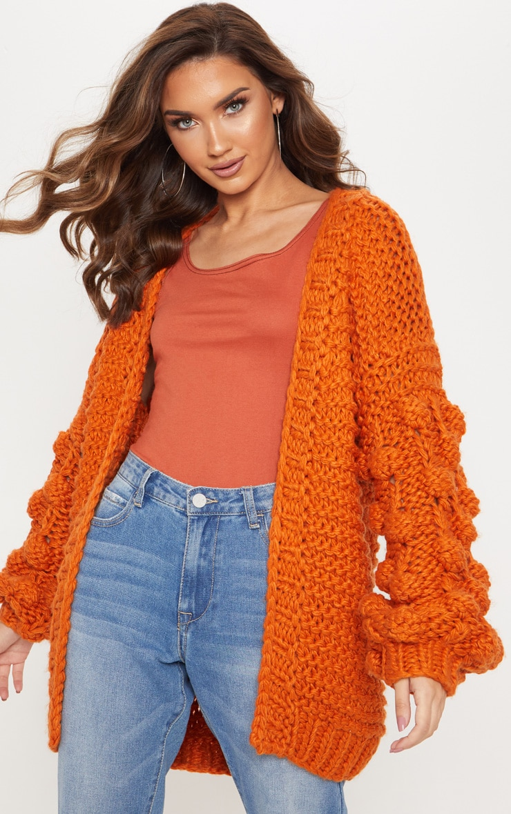 Rust Midi Length Bobble Sleeve Knitted Cardigan 1