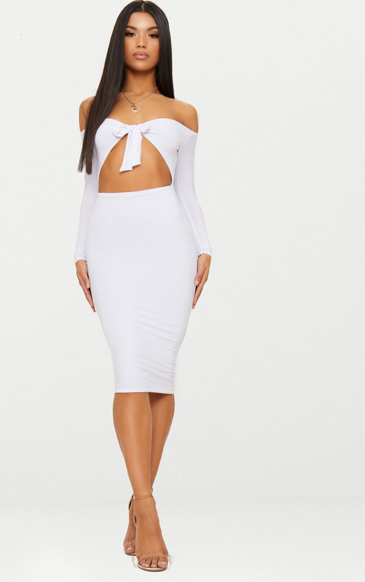 White Double Layer Slinky Tie Detail Bardot Midi Dress 1