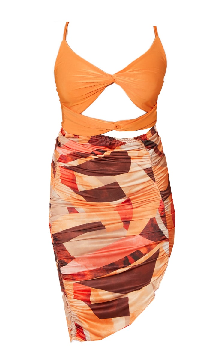 Orange Abstract Print Contrast Slinky Twisted Cut Out Detail Midi Dress 4