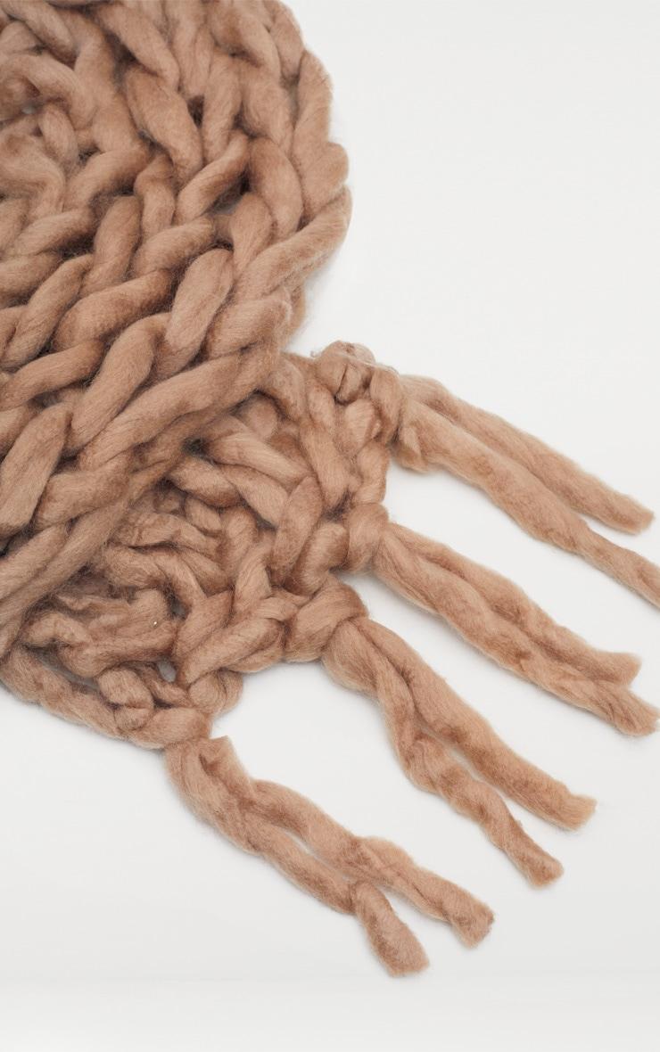 Camel Chunky Knit Scarf 3
