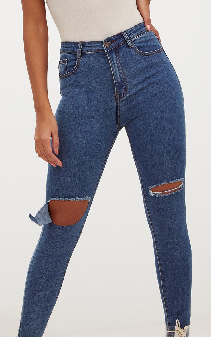 Dark Wash Open Knee Rip Skinny Jean 4