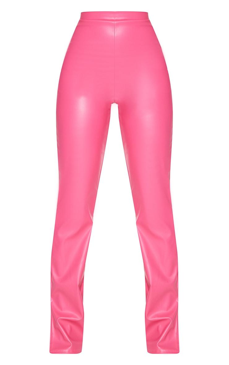 Petite Pink Faux Leather Split Hem Trousers 5