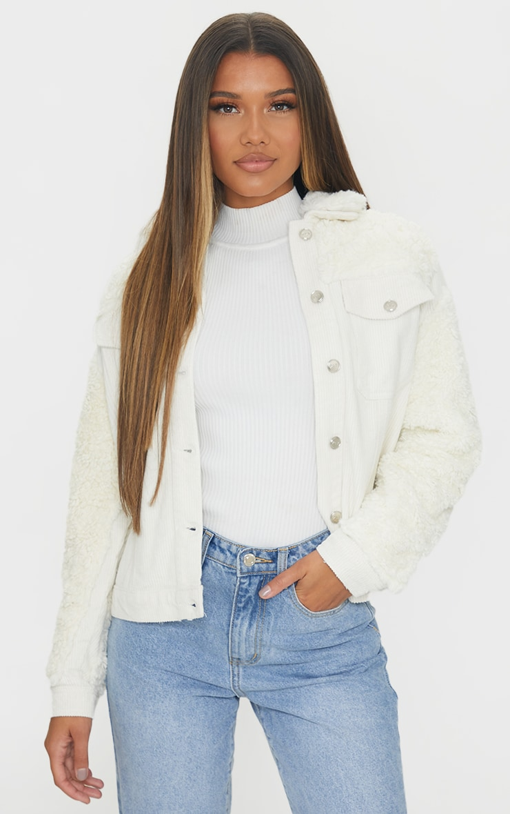 Cream Fur And Cord Denim Jacket 1
