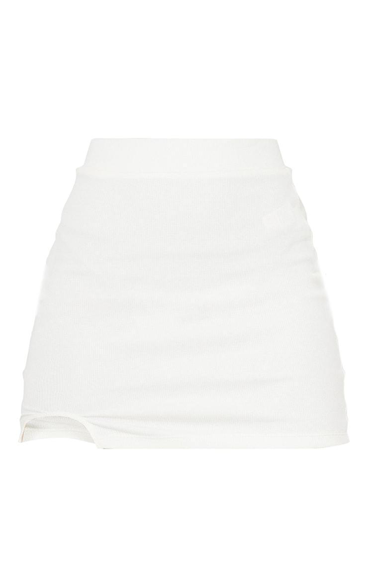 Mini-jupe légèrement côtelée blanche à ourlet fendu 6