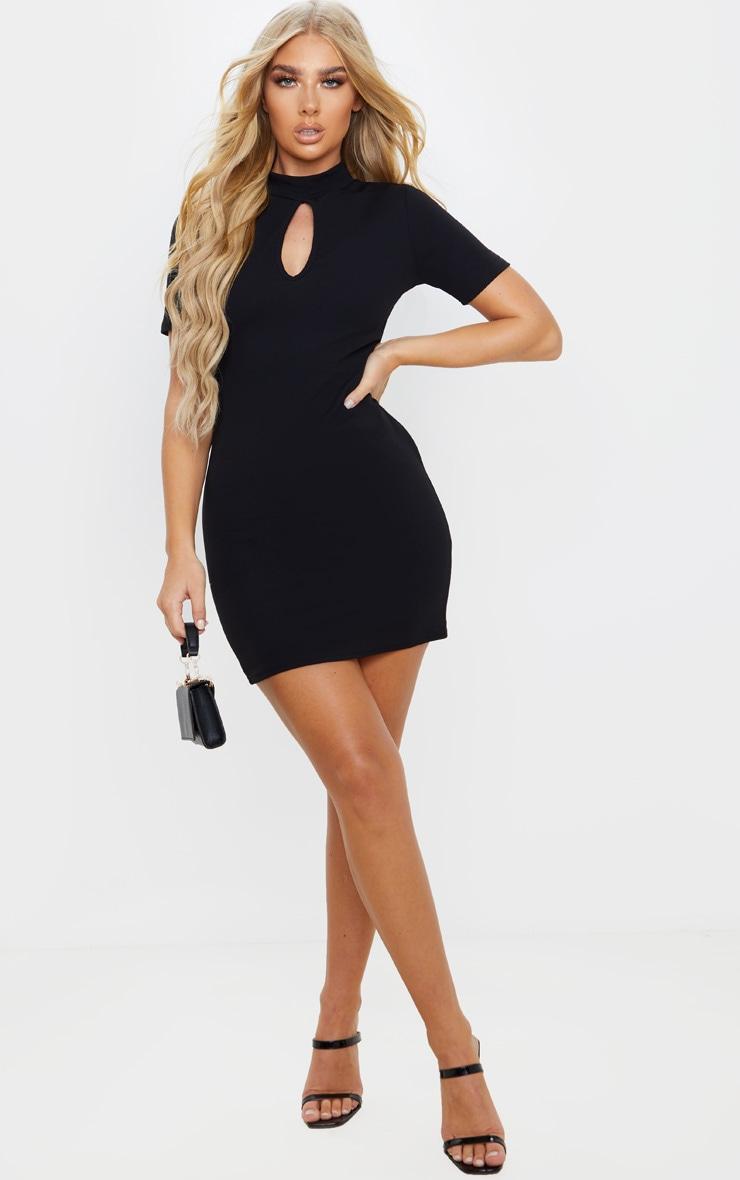 Black Short Sleeve Key Hole Cut Out Bodycon Dress 4