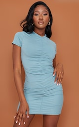 Mineral Blue Ruched Front T Shirt Dress 1
