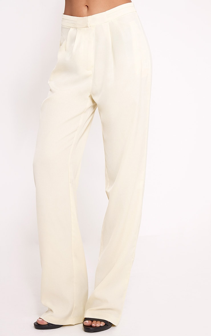 Olive Cream Loose Fit Trousers 4