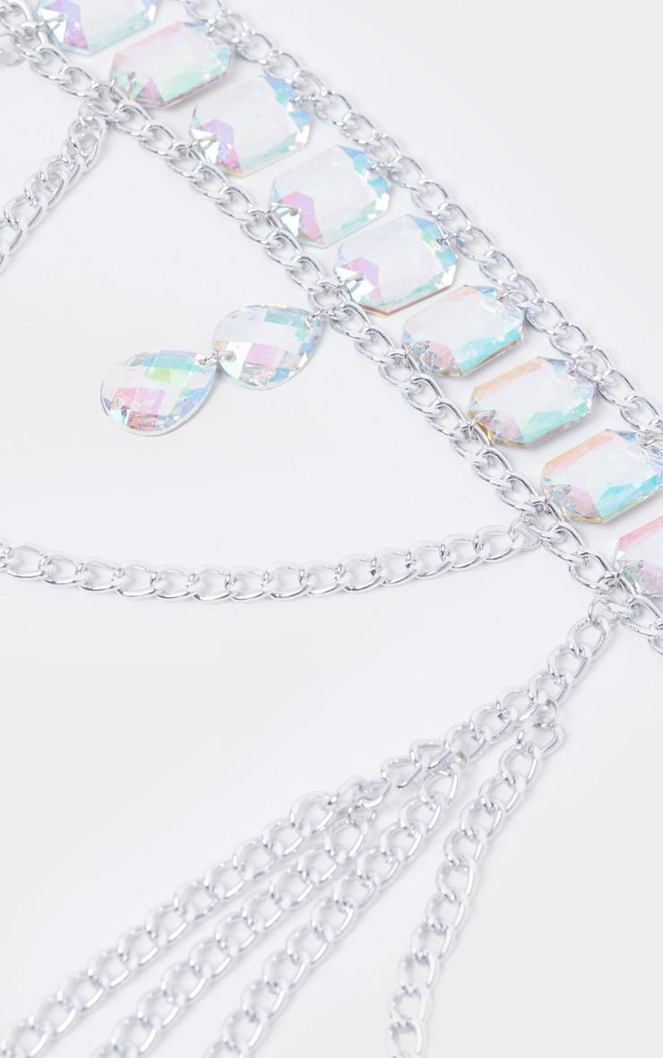 Iridescent Gemstone Silver Chain Belt 3