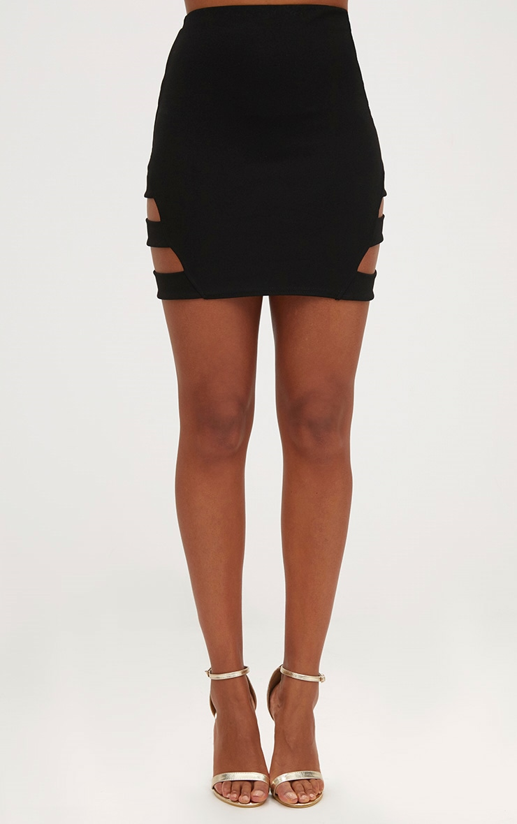 Black Strap Panel Mini Skirt 2