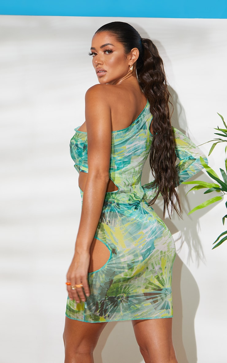 Green Cut Out One Shoulder Midi Dress 2