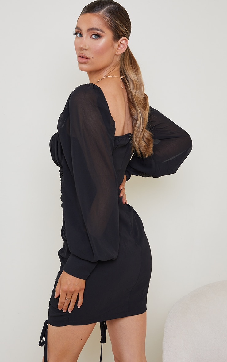 Black Chiffon Long Sleeve Ruched Skirt Bodycon Dress 2