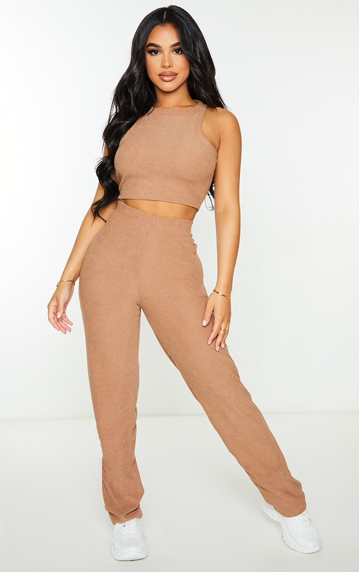 Petite Brown Towelling Rib High Waisted Flared Trousers 1
