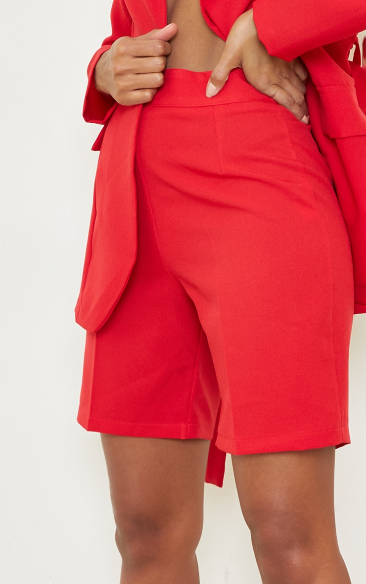 Red Woven Skinny Longline Shorts 5