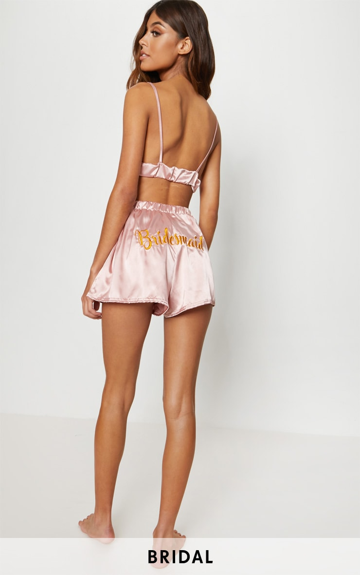 Satin Bridesmaid Embroidered Strappy Short PJ Set 1