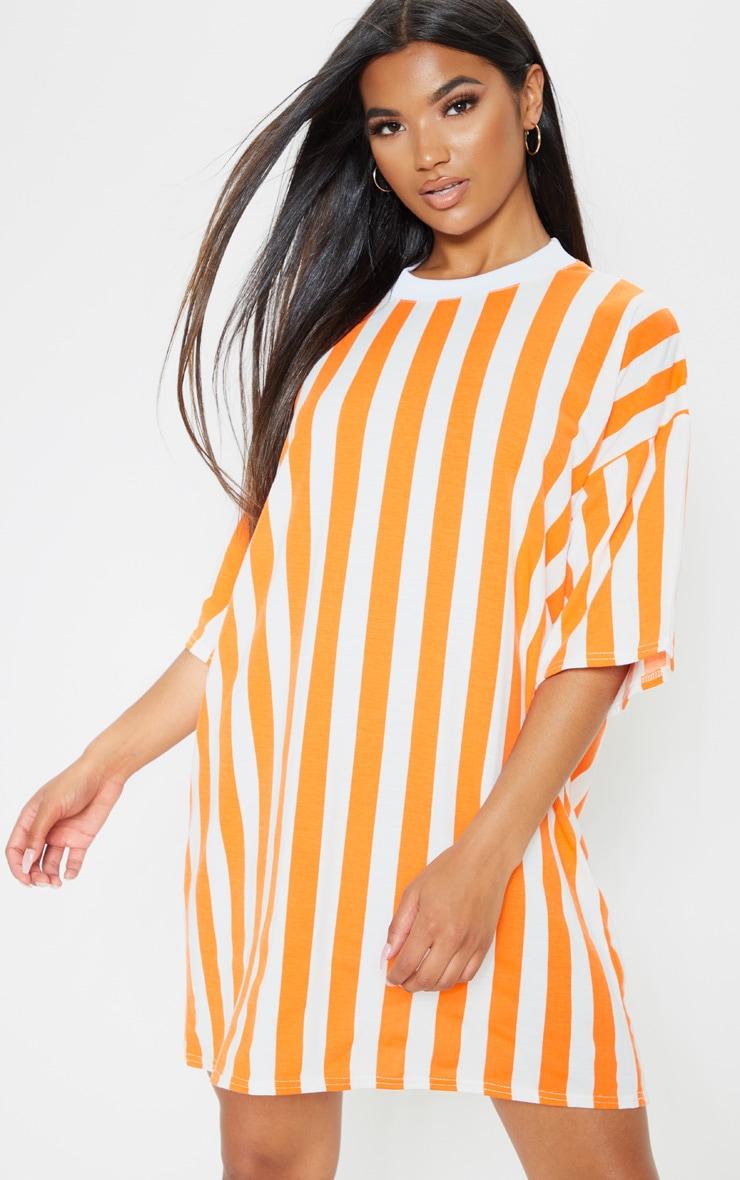 Orange Vertical Stripe Oversized Boyfriend T Shirt Dress 1