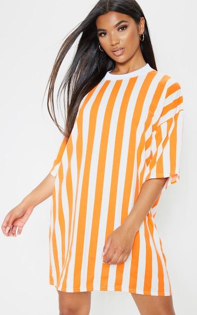 080a65dc51 Orange Vertical Stripe Oversized Boyfriend T Shirt Dress