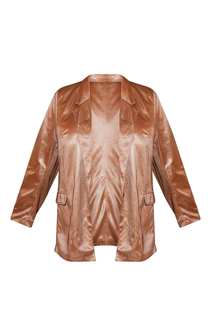 Plus Copper Metallic Oversized Blazer 4