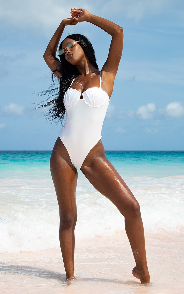 White Pearlescent Shell Cupped Swimsuit 2