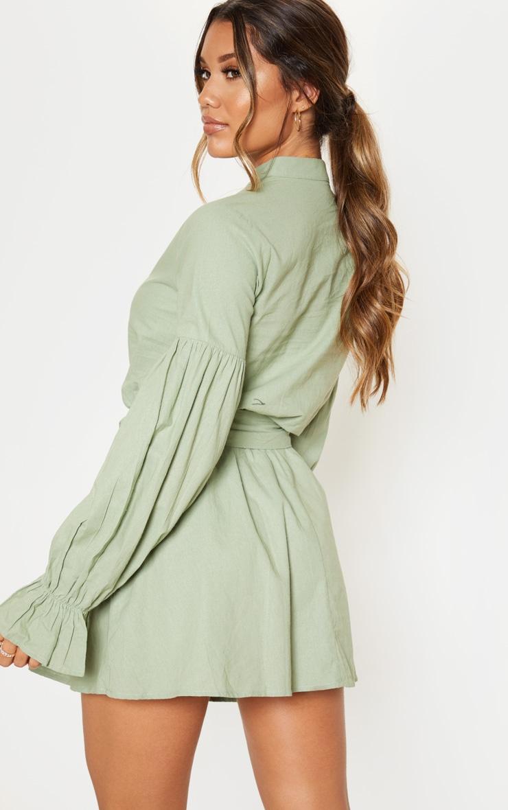 Sage Green Balloon Sleeve Tie Skater Dress 2