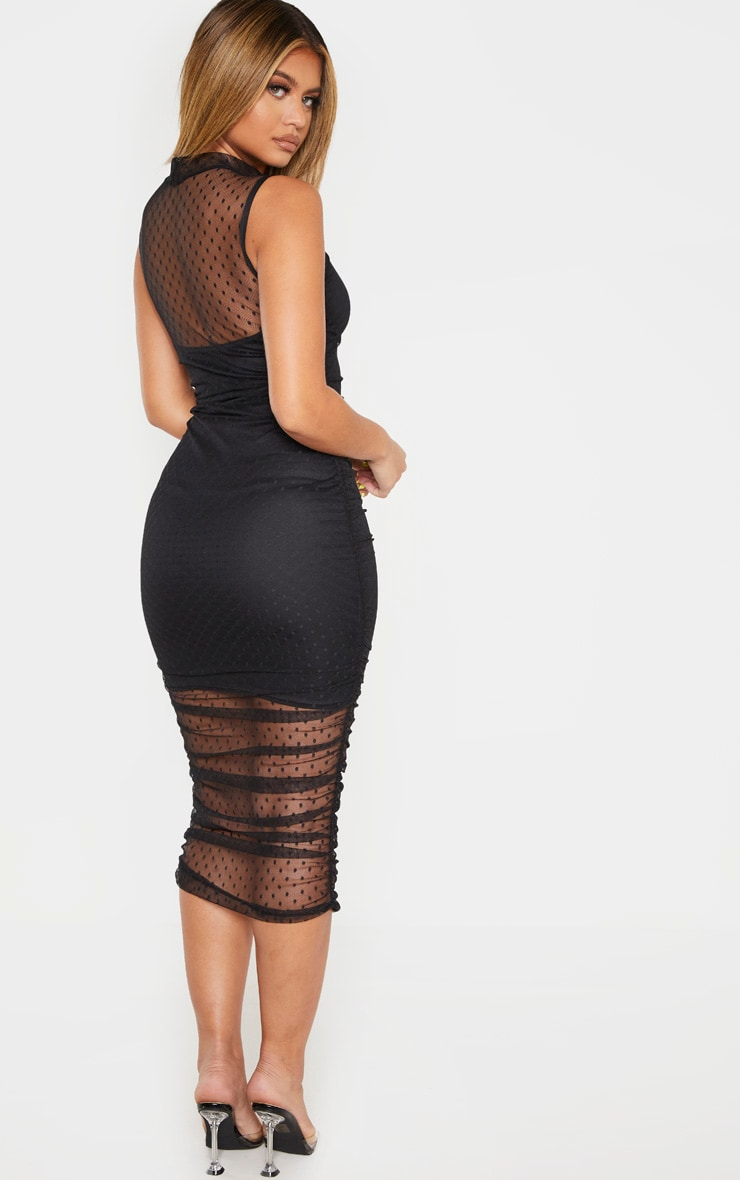 Black Dobby Mesh Ruched Midi Dress 2