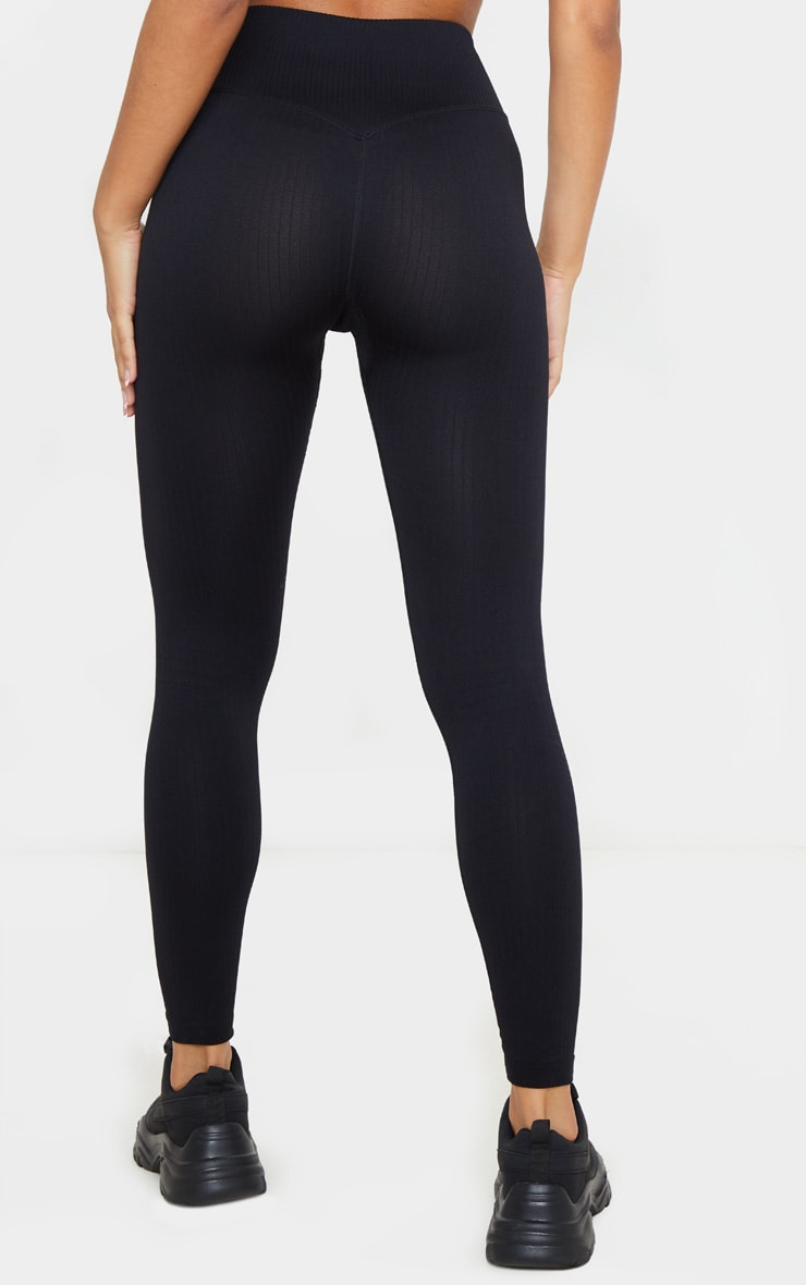 Black Ribbed Seamless Sports Legging 4